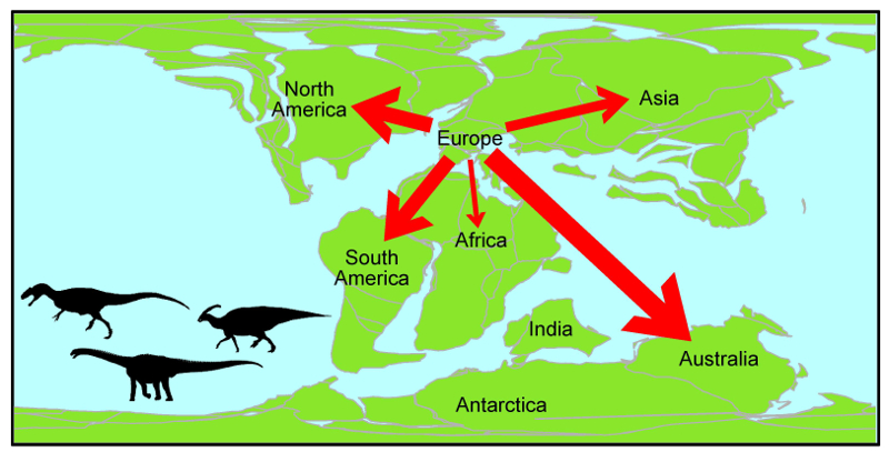 Researchers have used 'network theory' for the first time to visually depict the movement of dinosaurs around the world during the Mesozoic Era – including a curious exodus from Europe.