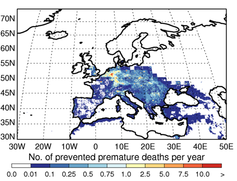 The number of premature deaths prevented each year due to the introduction of European Union (EU) policies and new technologies to reduce air pollution. The numbers given are for a 4km by 4km grid square. Credit: Turnock et al., Environ. Res. Lett. (2016) licensed under CC-BY 3.0